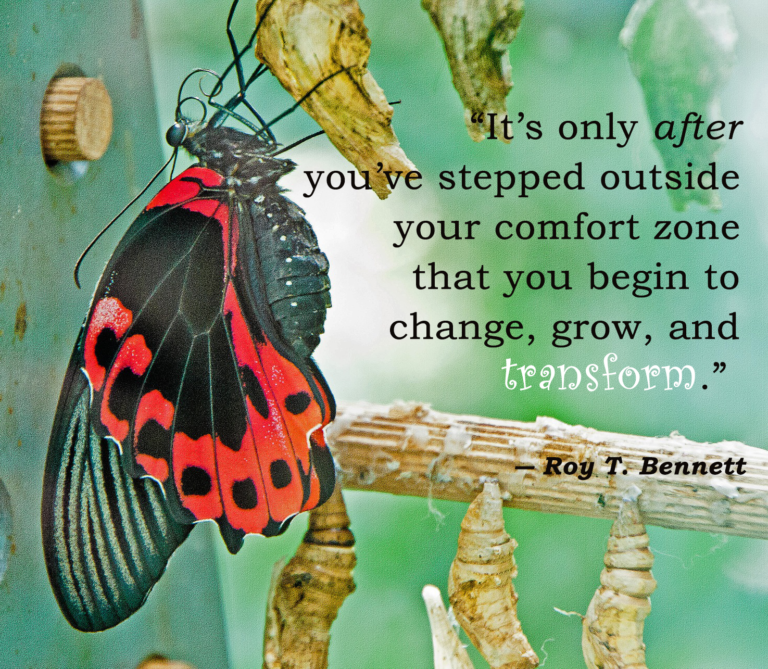 It's only after you've stepped outside your comfort zone that you begin to change, grow, and transform. -- Roy T. Bennett
